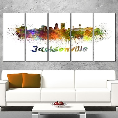 Jacksonville Skyline Cityscape Metal Wall Art, 60x28, 5 Panels, (MT6418-401)