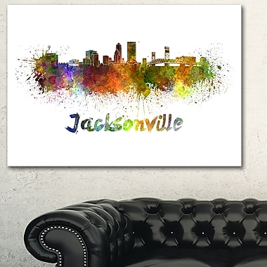 Jacksonville Skyline Cityscape Metal Wall Art, 28x12, (MT6418-28-12)