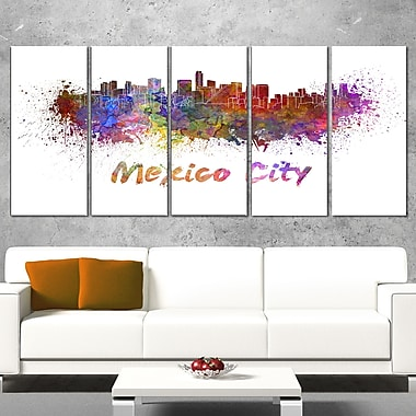 Mexico City Skyline Cityscape Metal Wall Art, 60x28, 5 Panels, (MT6419-401)
