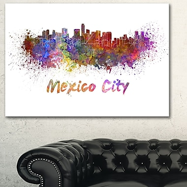 Mexico City Skyline Cityscape Metal Wall Art, 28x12, (MT6419-28-12)