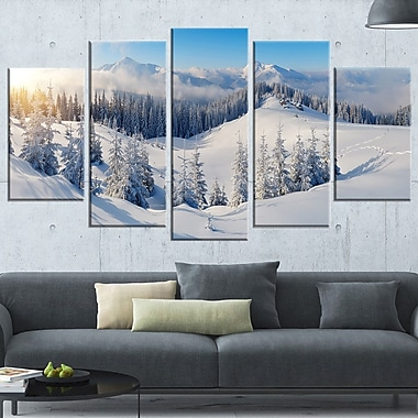Winter Mountains Panorama Photography Metal Wall Art, 60x32, 5 Panels, (MT6420-373)