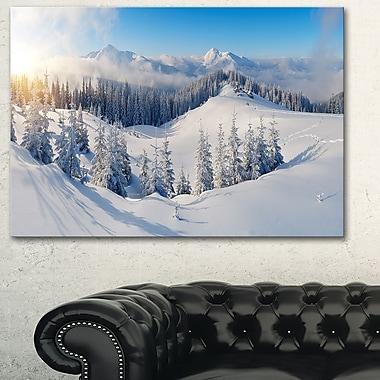 Art mural en métal, photographie de panorama, montagnes d'hiver, 28 x 12 po, (MT6420-28-12)