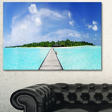 Maldives Panorama Seascape Photography Metal Wall Art, 28x12, (MT6421-28-12)
