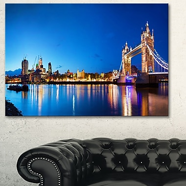 Tower Bridge London Cityscape Photo Metal Wall Art, 28x12, (MT6422-28-12)
