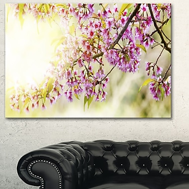 Blooming Cherry Flowers Floral Metal Wall Art, 28x12, (MT6423-28-12)