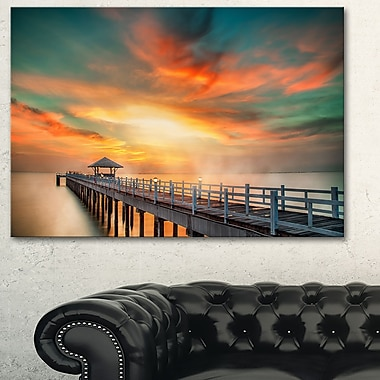 Wooden Pier Landscape Photo Metal Wall Art, 28x12, (MT6424-28-12)