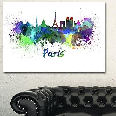 Art mural en métal, paysage, horizon urbain de Paris, 28 x 12 po (MT6425-28-12)