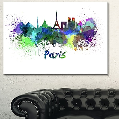 Paris Skyline Cityscape Metal Wall Art, 28x12, (MT6425-28-12)