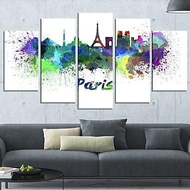 Paris Skyline Cityscape Metal Wall Art, 60x32, 5 Panels, (MT6425-373)