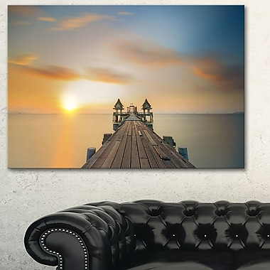 Infinity Bridge Seascape Photography Metal Wall Art, 28x12, (MT6427-28-12)