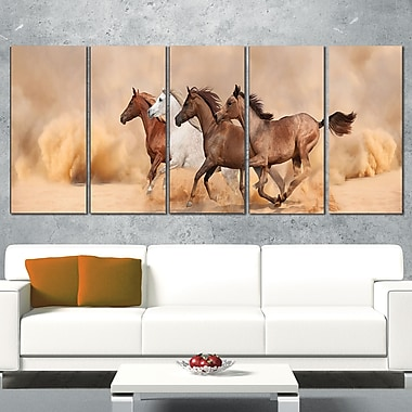 Herd Gallops in Sand Storm Landscape Metal Wall Art