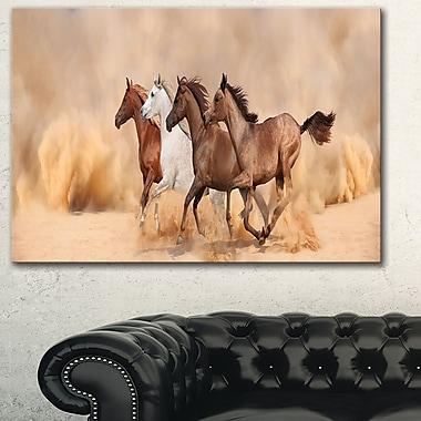 Herd Gallops in Sand Storm Landscape Metal Wall Art, 28x12, (MT6428-28-12)