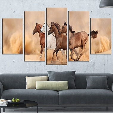 Herd Gallops in Sand Storm Landscape Metal Wall Art, 60x32, 5 Panels, (MT6428-373)