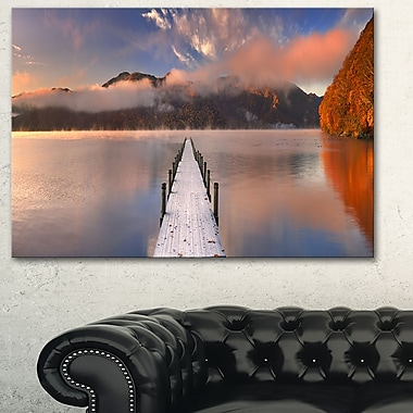 Jetty in Lake Japan Seascape Photography Metal Wall Art, 28x12, (MT6429-28-12)