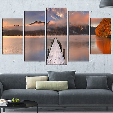Jetty in Lake Japan Seascape Photography Metal Wall Art, 60x32, 5 Panels, (MT6429-373)