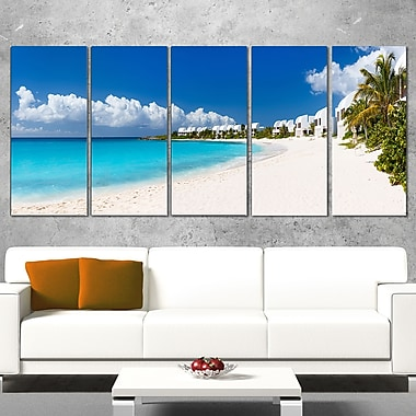 Caribbean Beach Panorama Landscape Photo Metal Wall Art, 60x28, 5 Panels, (MT6430-401)