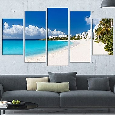 Caribbean Beach Panorama Landscape Photo Metal Wall Art, 60x32, 5 Panels, (MT6430-373)