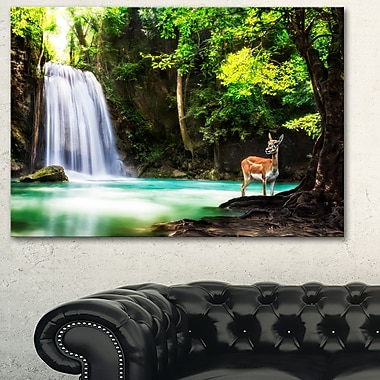 Erawan Waterfall Landscape Photo Metal Wall Art, 28x12, (MT6431-28-12)