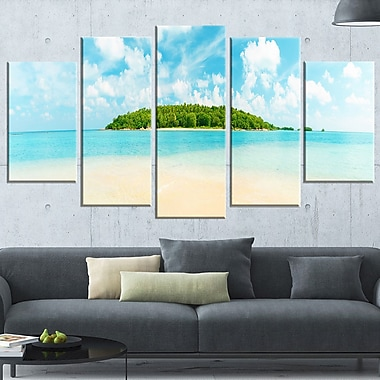 Tropical Island Panorama Photography Metal Wall Art, 60x32, 5 Panels, (MT6435-373)