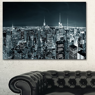 New York City Skyline at Night Cityscape Metal Wall Art, 28x12, (MT6436-28-12)