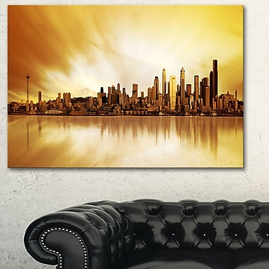 Seattle Panorama Landscape Photography Metal Wall Art, 28x12, (MT6437-28-12)