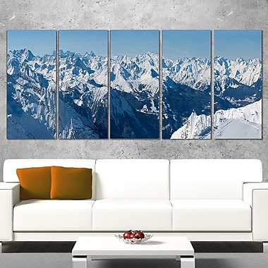 French Alps Panorama Photography Metal Wall Art, 60x28, 5 Panels, (MT6438-401)