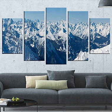 French Alps Panorama Photography Metal Wall Art, 60x32, 5 Panels, (MT6438-373)