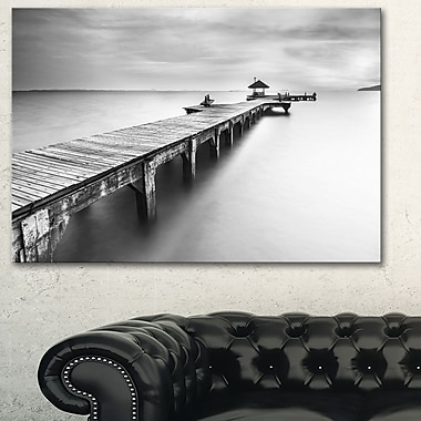 Wooden Sea Bridge Seascape Photography Metal Wall Art, 28x12, (MT6454-28-12)