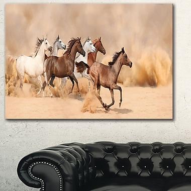 Herd Gallops in Sand Storm Photography Metal Wall Art, 28x12, (MT6456-28-12)