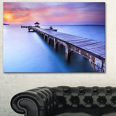 Blue Wooden Bridge Seascape Photography Metal Wall Art, 28x12, (MT6457-28-12)