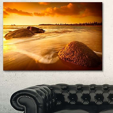 Sun Tinted Beach Photography Metal Wall Art, 28x12, (MT6458-28-12)