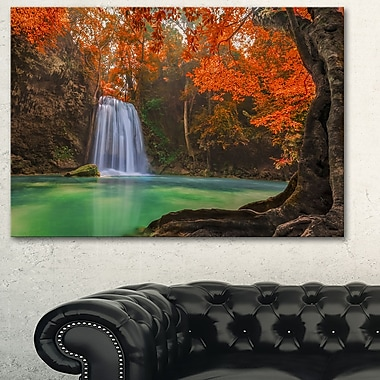Erawan Waterfall Photography Metal Wall Art, 28x12, (MT6460-28-12)