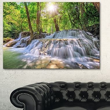 Kanchanaburi Waterfall Photography Metal Wall Art, 28x12, (MT6461-28-12)
