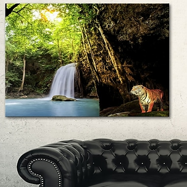 Tiger Watching Waterfall Landscape Metal Wall Art, 28x12, (MT6465-28-12)