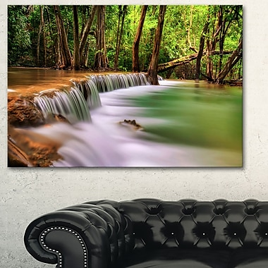 Secodn Level Erawan Waterfall Photography Metal Wall Art, 28x12, (MT6466-28-12)