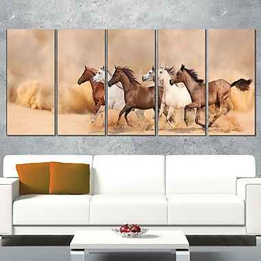 Herd Gallops in Sand storm Landscape Wall Art