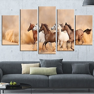 Herd Gallops in Sand storm Landscape Metal Wall Art, 60x32, 5 Panels, (MT6468-373)