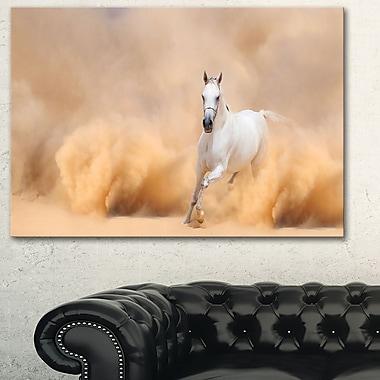 Art mural en métal, photographie, cheval arabe dans une tempête du désert, 28 x 12 po (MT6469-28-12)