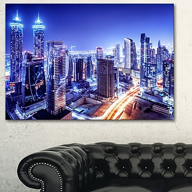 Dubai Downtown Night Scene Cityscape Metal Wall Art, 28x12, (MT6470-28-12)