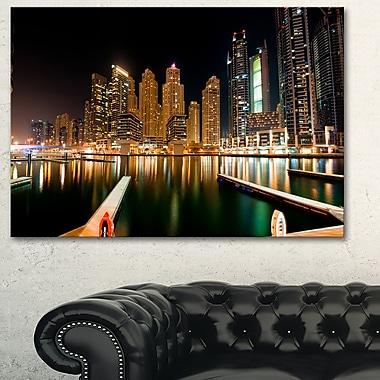 Dubai Marine Skyline Photography Metal Wall Art, 28x12, (MT6473-28-12)
