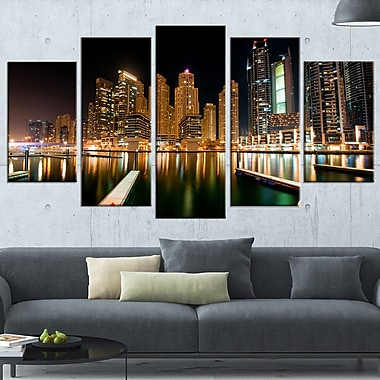Dubai Marine Skyline Photography Metal Wall Art, 60x32, 5 Panels, (MT6473-373)