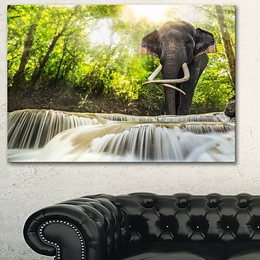 Erawan Waterfall with Elephant Metal Wall Art, 28x12, (MT6475-28-12)