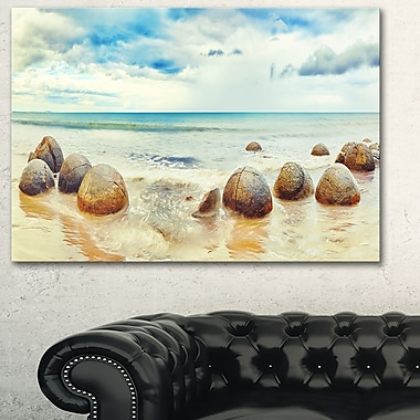 Moeraki Boulders Landscape Photography Metal Wall Art, 28x12, (MT6477-28-12)