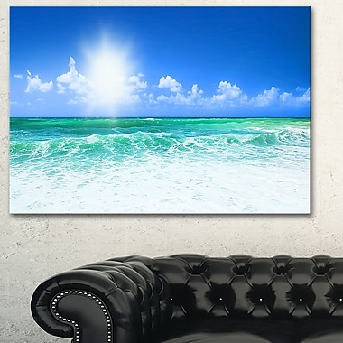 Beautiful Blue Beach Seascape Photography Metal Wall Art, 28x12, (MT6479-28-12)