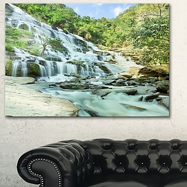 Maeyar Waterfall Landscape Photography Metal Wall Art, 28x12, (MT6480-28-12)