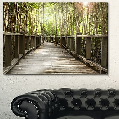 Wooden Bridge in Forest Landscape Metal Wall Art, 28x12, (MT6482-28-12)