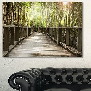 Art mural en métal, pont en bois dans la forêt, 28 x 12 (MT6482-28-12)