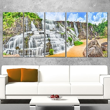 Pongour Waterfall Photography Metal Wall Art, 60x28, 5 Panels, (MT6484-401)