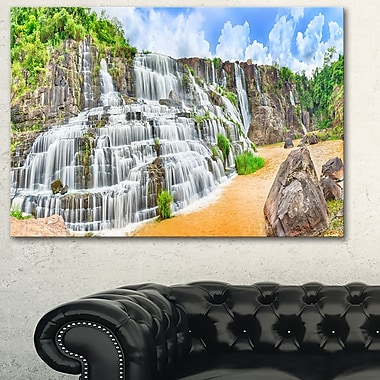 Pongour Waterfall Photography Metal Wall Art, 28x12, (MT6484-28-12)