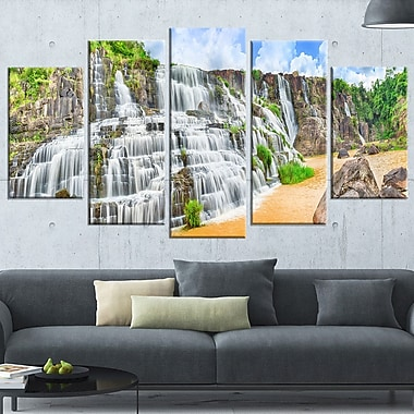 Pongour Waterfall Photography Metal Wall Art, 60x32, 5 Panels, (MT6484-373)